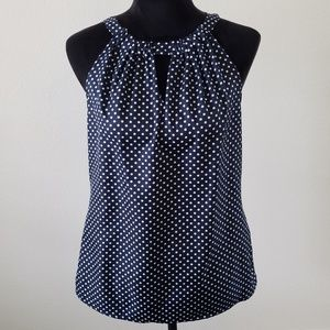 B2G1 The Limited Navy/White Polka Dot Halter Tank
